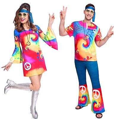 Mens & Ladies Couples Bright Hippy Hippie 70s 60s Fancy Dress Costumes Outfits](70s Couples Costumes)
