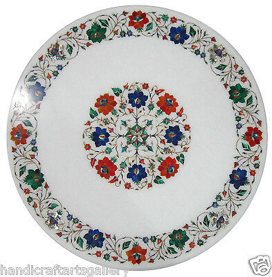 """24"""" White Marble Top Coffee Table Multi Gems Mosaic Floral Inlay Art Patio Decor"""