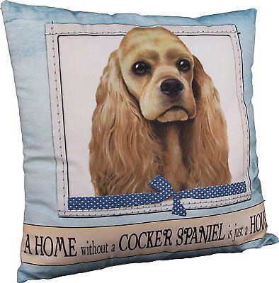 E&S Pets Large Dog Design Throw Pillow 16 x 16 inches - Cocker Spaniel, Buff