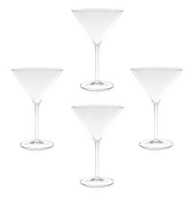 QG 9 fl oz Clear Acrylic Plastic Martini Glass Goblet Tumbler Set of 4 ()