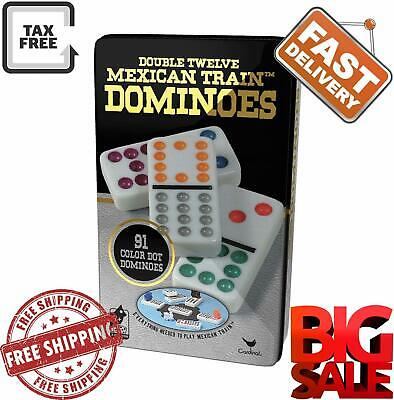 Professional Dominoes Game Set Double 12 Color Dot Domino Tiles Mexican Train - Dominoes Set