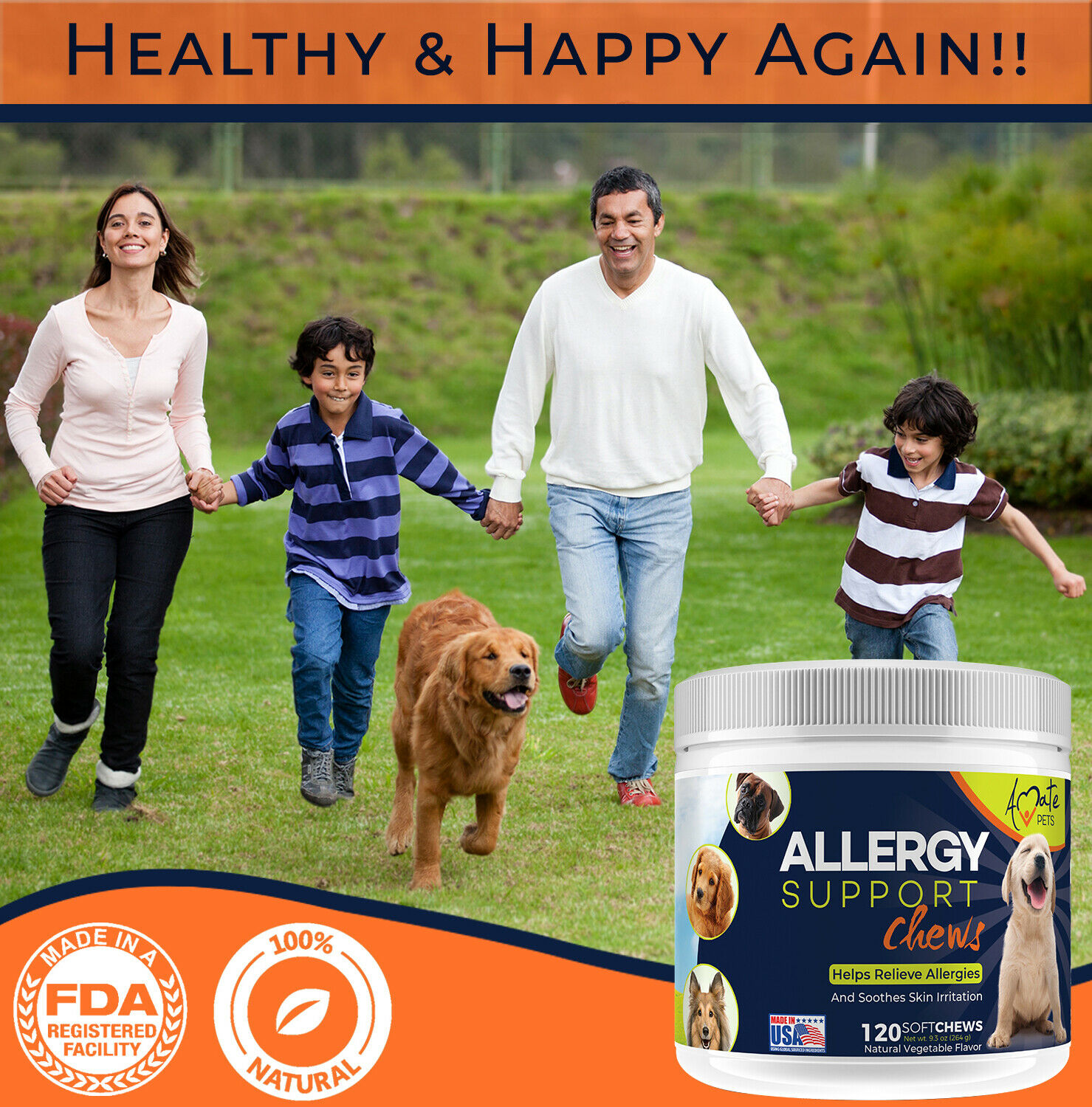 Allergy Relief Immune Supplement for Dogs - Itching Skin Relief Amate Pets 2