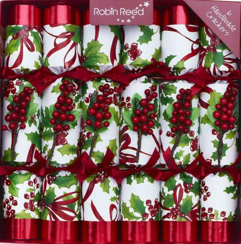 """Robin Reed Christmas Crackers - Winter Berry 6pc English Holiday Party Favor 12"""""""