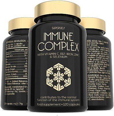 Immune System Booster - 120 Capsules - Vitamins Minerals Herbal Support Complex