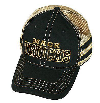 Mack Trucks Black & Gold Stripe Mesh Snapback Cap/Hat - Mack Truck Hats