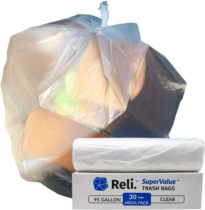 Reli. SuperValue 95 Gallon Trash Bags  (30 Count) Large 90 Gal - 96 Gal (Clear)