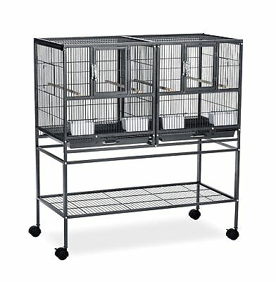Rolling Divided Breeder Cage Bird Stand Wrought Iron Nesting Doors 4 Perches Cup
