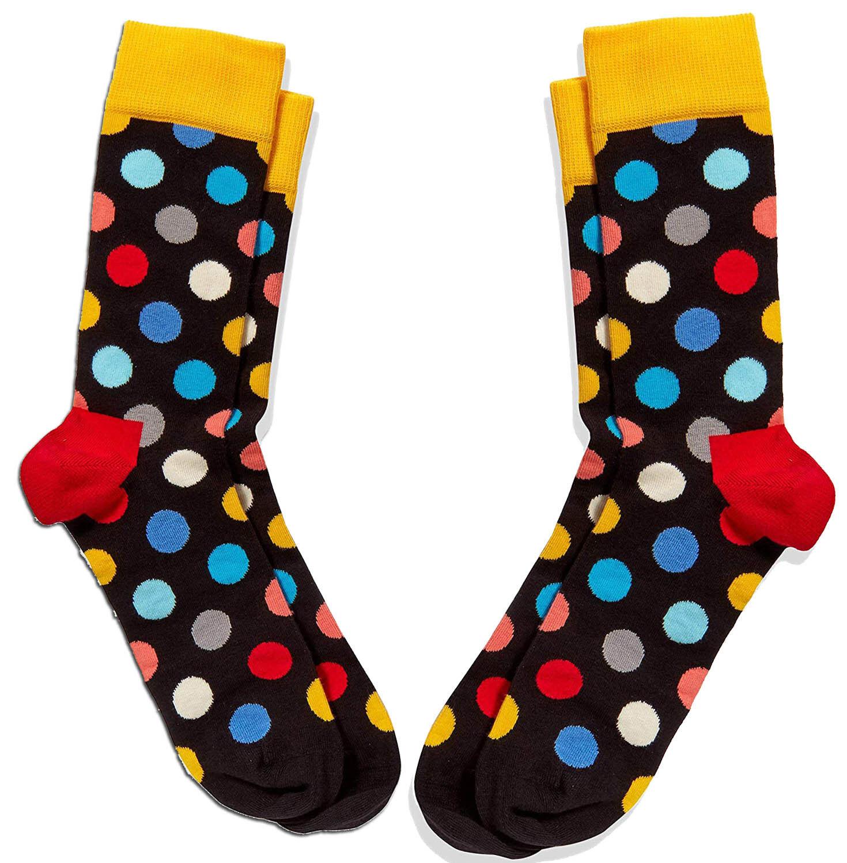 2 Paar - Happy Socks 41-46 Einheitsgröße - Bunt gepunktet Big Dot - Damen/Herren
