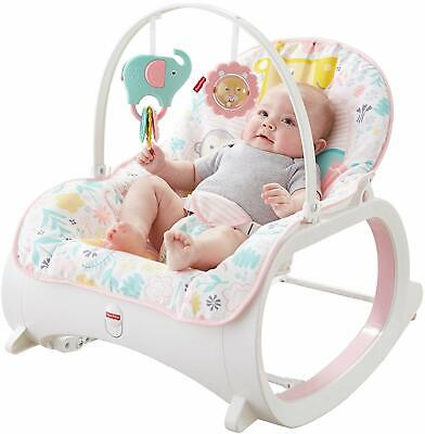 Infant to Toddler Rocker Chair Baby Vibrating Activity Play Feeding Calming Pink Baby Calm Rocker