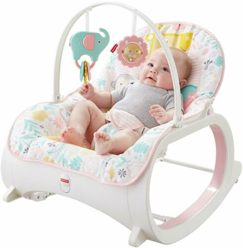 Infant to Toddler Rocker Chair Baby Vibrating Activity Play Feeding Calming Pink