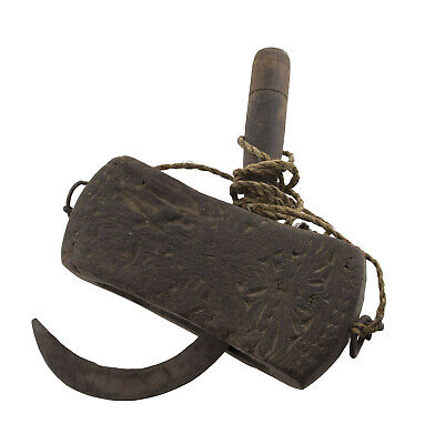 Antique Bill Hook Sickle Support Carved Art Ethnic Primitive Tibet Nepal 26633