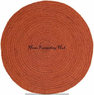 Orange Indian Handmade Tapis Jute Round Area Teppich Mat Carpet Dhurrie Rag Rug