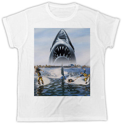 COOL JAWS SHARK MOVIE POSTER UNISEX COOL FUNNY TSHIRT