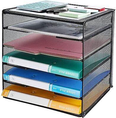 Veesun Paper Letter Tray Organizer Mesh Desk File Organizer With 5 Tier Shelf