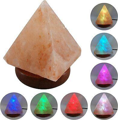 Lámpara Pirámide USB Led Sal Del Himalaya Cambio de Color Multicolor Base...