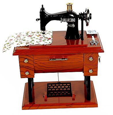 Vintage Mini Sewing Machine Style Plastic Music Box Table Desk Decoration Toys