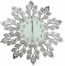 Lulu Decor,25 Crystal Leaf Metal Wall Clock, 9 Glass Number Dial