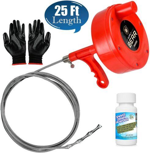 Drain Snake Clog Remover 25-Ft & Plumbing Auger for Hair Removal BONUS Solution