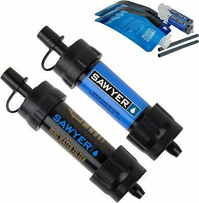 2 Pack Sawyer Mini Water Filter Filtration System Blue + Black