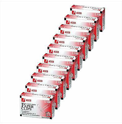 Acco Paper Clips 1 Size Economy Non-skid 10 Boxes 100box 1000 Count Total