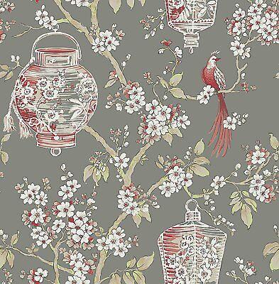 Oriental Lanterns Wallpaper Birds Flowers Floral Paste The Wall A Street Prints - Oriental Lanterns