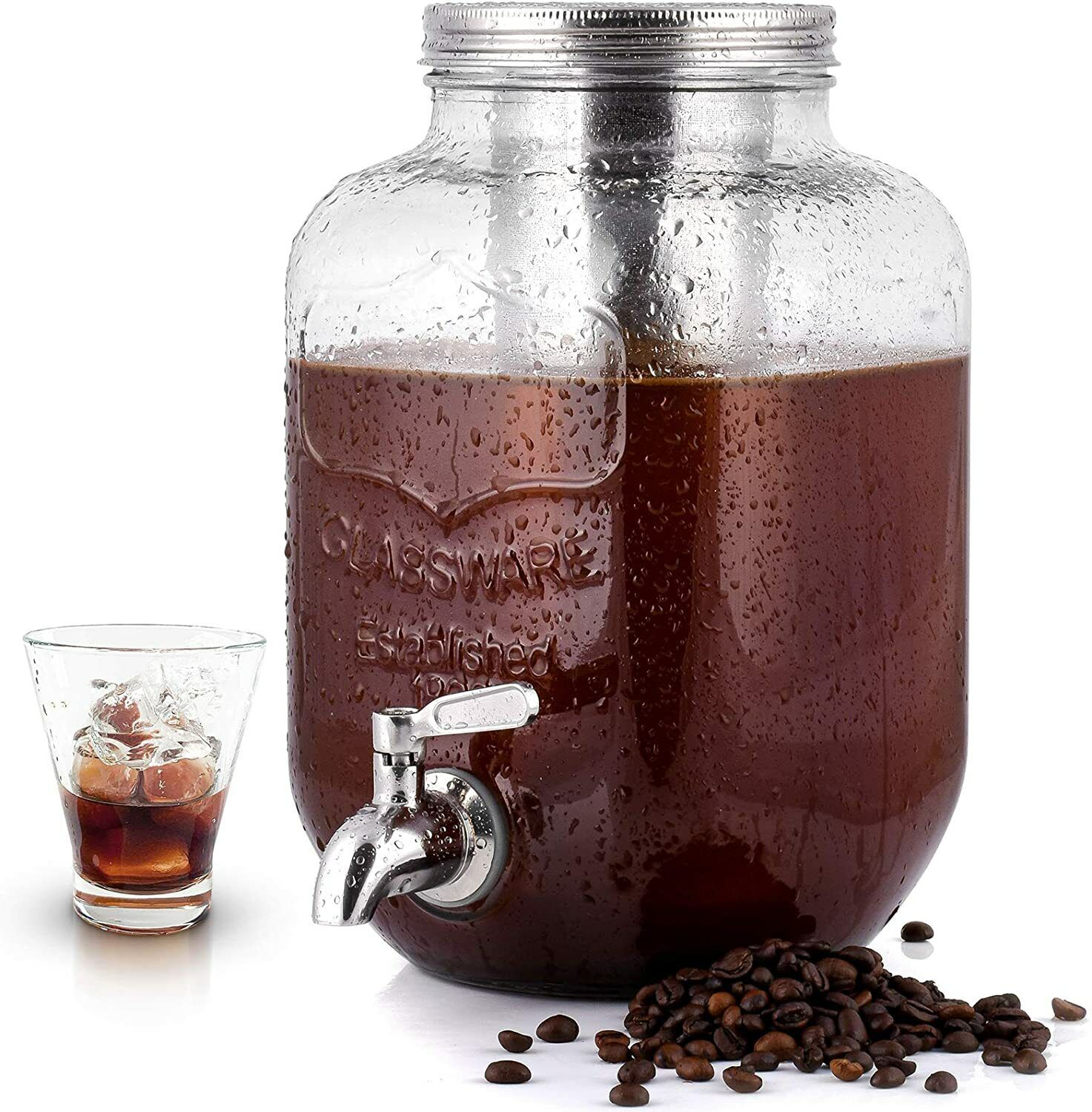 1 Gallon Cold Brew Coffee Maker with EXTRA-THICK Glass Caraf
