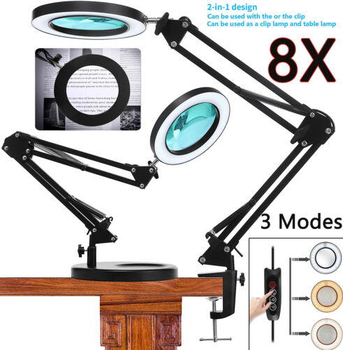 Magnifier LED Lamp 8X Magnifying Glass Desk Table Light Reading Lamp With Clamp