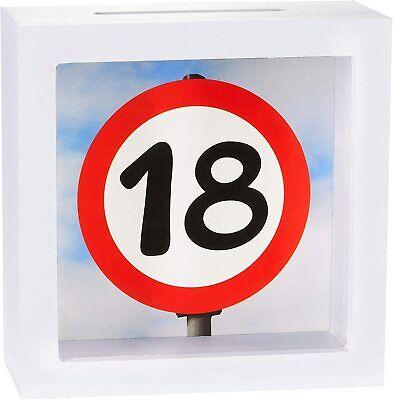 BRUBAKER 18º cumpleaños hucha en marco de madera para Efectivo Dinero Regalos