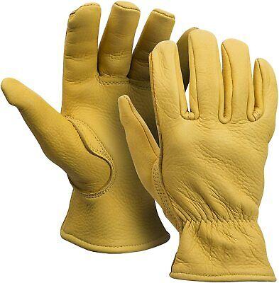 American Fur Grain Deerskin 3m Thinsulate Lined Winter Work Gloves Mens New