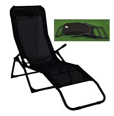 Garden Deck Chair Pool Sun Lounger Cheap Folding Outdoor Patio Recliner Black