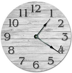 10.5 WOODEN GREY BOARD CLOCK - Living Room Clock - Large 10.5 Wall Clock 4076