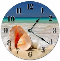 10.5 SEASHELL AND SEAFOARM - BEACH CLOCK - Large 10.5 Wall Clock - 4063