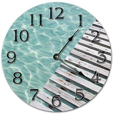 10.5 CLEAR WATER BY THE DECK - Living Room Clock - Large 10.5 Wall Clock 4070