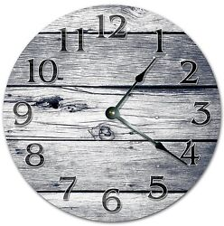 10.5 GREY WEATHERED WOOD BOARDS CLOCK - Large 10.5 Wall Clock  4061