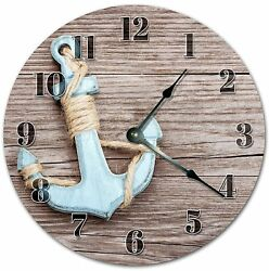 10.5 OLD METAL ANCHOR ON BOARD CLOCK - Large 10.5 Wall Clock - Home Décor 4059
