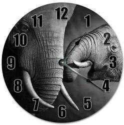 Large Wall Clock Hanging Handmade Clock MAMA BABY ELEPHANT ANIMALS CLOCK 4080