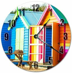 10.5 COLORFUL MINI BEACH HOUSES CLOCK BEACH CLOCK Large 10.5 Wall Clock 4058