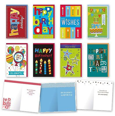 Birthday Cards Bulk (Assorted General Birthday Cards Bulk Card Set of 8 Cards with)