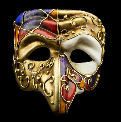 Mask from Venice Polichinelle Nose Golden Paper Mache For Man Luxury 22347