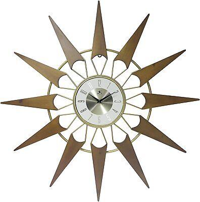 "Infinity Instruments 15528CH Midcentury 31"" Sunburst Wall Clock, Gold/Cherry NEW"