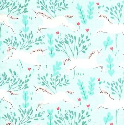 Fabric Unicorn White in Forest on Aqua Flannel by the 1/4 yard - Unicorn In Forest