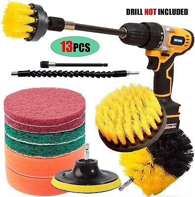 13 Pcs Carpet Mat Round Brush Power Drill Attachment Car Care & Detailing Tool