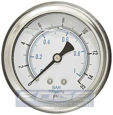 Liquid Filled Pressure Gauge 0-15 Psi 2.5 Face 14 Back Mount Wog