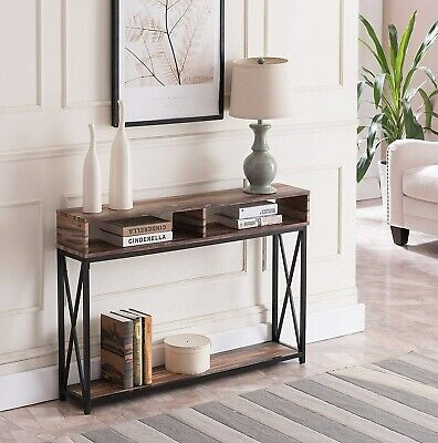 Sofa Table Console Furniture Accent Rustic Black Entryway Hallway Entry Metal