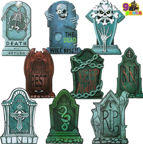 """Halloween Tombstone Scary Yard Decorations (Pack of 9), 17"""" Tall Lightweight"""