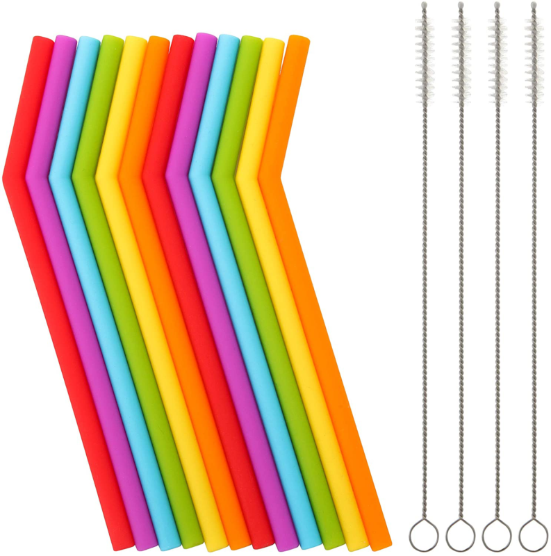 Reusable Silicone Straws for Toddlers  Kids - 12 pcs Flexibl