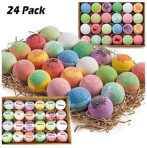 085e51f4d17f8 Gift Set of 24 Organic Bath Bombs Fizzies All Natural With Shea Cocoa Butter