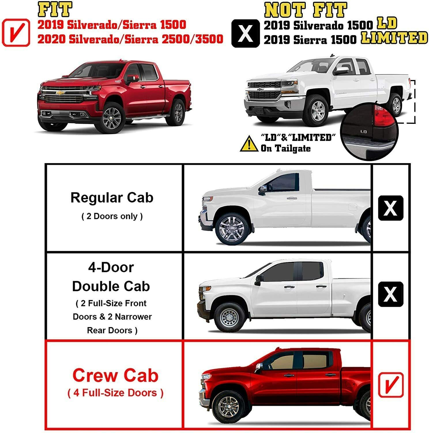 For 2019-2021 Chevy Silverado/GMC Sierra 1500 Crew Cab 5 ...