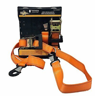 """2 PACK Heavy Duty Motorcycle Ratchet Tie Down Straps 8' x 1-1/2"""" w/ Safety Snap ()"""
