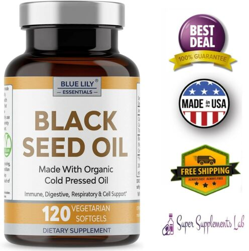 BLACK SEED OIL CAPSULES 120 Organic Cold Pressed Black Cumin Max Strength 1000mg